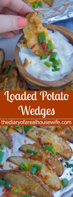 Loaded with cheese, bacon, and fresh green onions and served with sour cream for dipping these Loaded Potato Wedges is a recipe you will want to try! Side Dishes Easy, Side Dish Recipes, Easy Appetizer Recipes, Healthy Recipes, Picnic Recipes, Easy Recipes, Frugal Meals, Easy Meals, Benefits Of Potatoes