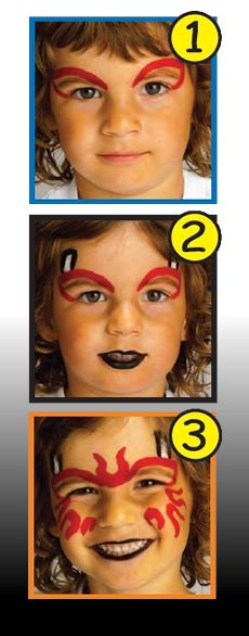 HALLOWEEN DEVIL face painting with sticks for boys