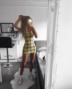 Trend Alert: Schackklänning - Dammode - Lilly is Love Teen Fashion Outfits, Mode Outfits, Look Fashion, Womens Fashion, 90s Fashion, Teen Party Outfits, Dress Fashion, Fashion Clothes, Clueless Outfits