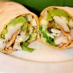 This wrap is light and refreshing, perfect for a spring or summer day. It is ea… This wrap is light and refreshing, perfect for a spring or summer day. It is easy to make and is high in protein and fiber. I Love Food, Good Food, Yummy Food, Tasty, Chicken Avocado Wrap, My Favorite Food, Favorite Recipes, Tailgate Food, Cooking Recipes