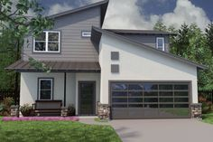Simple modern 2-storey house plan EG: I like the privacy of the front and the automatic garage door.