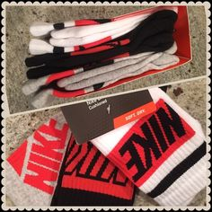 Nike Cushioned 3 pairs in a pack. Black/white/red. Nike Cushioned 3 pairs in a pack. Black/white/red. Nike Accessories Hosiery & Socks