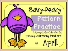 April calendar cards with a growing pattern to keep students challenged in mastering patterns.