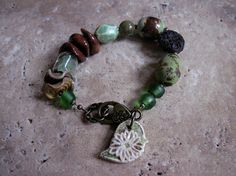 Bracelet Natural Organic Green and Brown by skyejewels on Etsy, $46.00