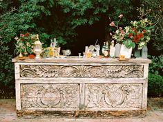 Rustic cocktail bar: http://www.stylemepretty.com/2014/10/17/elegant-estate-wedding-inspiration-part-1/ | Photography: Marisa Holmes - http://marisaholmesblog.com/