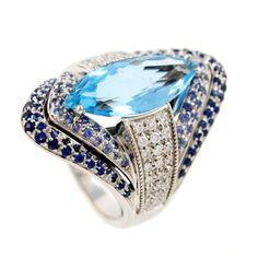 Diamond Rings : OTTAVIANO  White Gold Aquamarine Sapphire and Diamond Ring 2004 Italy