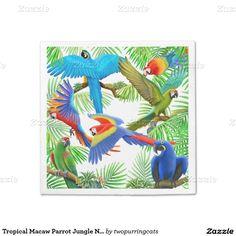 Tropical Macaw Parrot Jungle Napkins Standard Cocktail Napkin