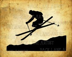 Ski Snow Boarder Sports Silhouette Clipart by BackLaneArtist