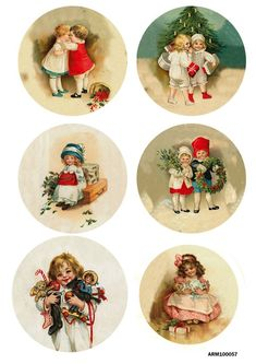 Rice Paper for Decoupage Scrapbook Crafting Christmas Wishes Children Sled  219
