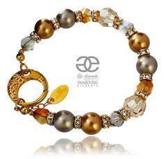Bransoletka Golden z kryształami i perłami Swarovski na złotym srebrze. Zobacz: http://arande.pl/store/pl/p/Swarovski-Piekna-Bransoletka-GOLDEN-ZLOTE-SREBRO/4269 #Swarovski #bizuteria #bransoletki