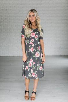 Mikayla Rose Midi Dress - Charcoal