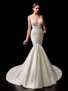 PASCALE- 2021 Enzoani | Enzoani Fit And Flare Wedding Dress, Elegant Wedding Dress, Wedding Gowns, Bridal Collection, Dress Collection, Sparkle Wedding, Mermaid Gown, Bridal Style, Bridal Dresses