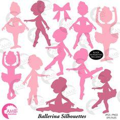 Ballerina silhouette clipart Ballet silhouette clipart pink