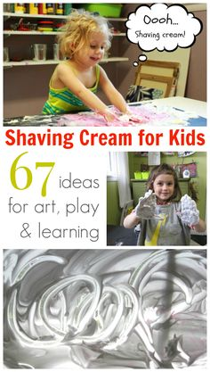 Here are 67 ideas for using shaving cream for kids art, play, & learning, including shaving cream marbling, sensory table ideas, holiday crafts, & parties.