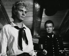 "Terence Stamp and Robert Ryan in ""Billy Budd"" produced, directed and co-written by Peter Ustinov, the film was adapted from a stage play version. Hannah Arendt, Billy Budd Movie, Lucien Carr, Terence Stamp, Moby Dick, Robert Ryan, Julie Christie, Turner Classic Movies, Best Supporting Actor"