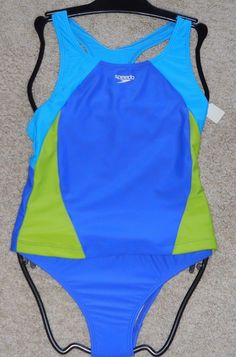 0337a98e6e New Girls Size 12 Speedo Tankini 2 piece Swimsuit Blue Color Block New   Speedo