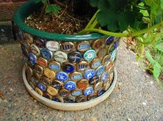 Beer Cap Planter... Would be cute with different caps that meant something, like cap from 1st date, different outings....