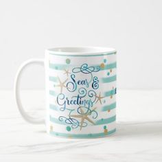 Tropical Seas AND Greetings Teal Stripes & Dots Coffee Mug - elegant gifts classic stylish gift idea diy style