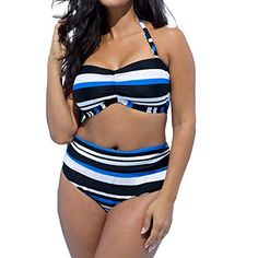 Pandaie-Womens Swimsuits Womens Colorblock Striped Halter Swimsuit Split Swimsuit Bikini Tankini Beach