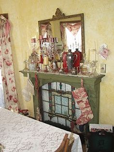 love this old fireplace mantle put in a bedroom with a stained glass window inside....