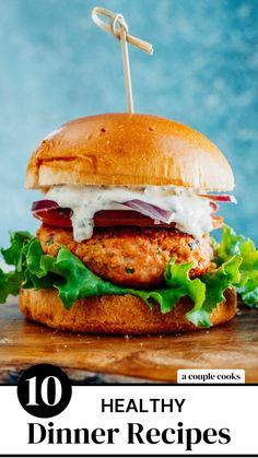 Best Healthy Dinner Recipes, Healthy Food Options, Vegetarian Recipes Dinner, Whole Food Recipes, Healthy Eats, Salmon Burger Sauce, Salmon Burgers, Shrimp Recipes, Salmon Recipes