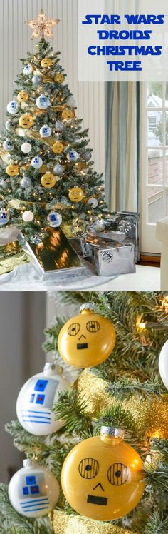 Fans of Star Wars will love this droid themed Christmas tree! Learn how to easily make your own C-3PO and R2-D2 ornaments.