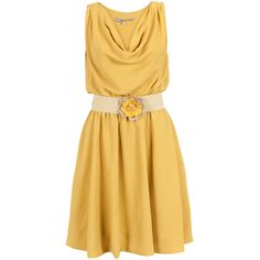 Elegant, yellow dress with drapy neckline, extra layer on the inside and elastic waistband. An elastic waist belt is included with flower decoration at the fro…