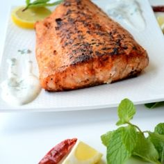 pan seared salmon - Indian spiced pan seared salmon woth yogurt mint dip