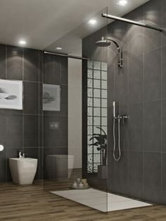 Bathroom: Bathroom With Modern Style Glass Shower As Well As Varnished Wooden Floor And Grey Wall Tiles Looked So Masculine.: Bathrooms Remodeling Design Ideas