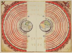 Figure of the heavenly bodies, the geocentric model of the Universe according to the Portuguese cosmographer and cartographer Bartolomeu Velho.