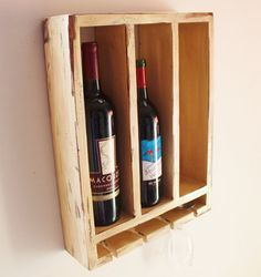 Wood Wine Rack 3 Bottles and Glass Holder by WhatWeMade on Etsy, $48.99