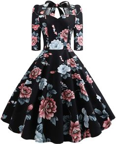 Women'S Vintage Dress Sweetheart Neck Half Sleeve Swing Floral Print Bowknot Dresses Party Rockabilly Retro Dress Size S Color Black Cute Prom Dresses, Dance Dresses, Pretty Dresses, Beautiful Dresses, Formal Dresses, Elegant Dresses, Sexy Dresses, Rockabilly Dresses, Corset Dresses