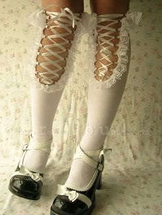 Corset Knee-Hi Socks -  These would be fun to wear with a midi or to the knee dress or skirt; sometimes the most interesting details are ones that are barely visible because they leave a lot to the imagination.