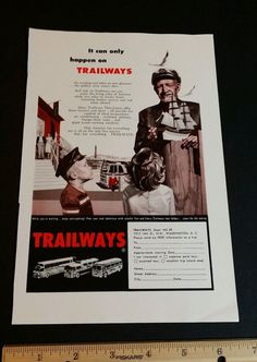 1950s Trailways bus magazine ad vintage old slot 8 travel