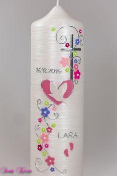 """Taufkerze+""""romantisch""""+mit+Blüten+Perlmutt+von+Sannis+Kerzen+nach+Wunsch+auf+DaWanda.com"""