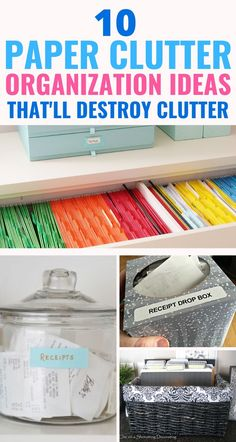 Destroy clutter with these 10 genius paper clutter organization hacks and tips. These are the ONLY 10 you need to pick from. They're cheap, easy, and work incredibly well. These paper clutter hacks are life changing! Filing Cabinet Organization, Organizing Paperwork, Clutter Organization, Home Organization Hacks, Classroom Organization, Organizing Tips, Organizing Documents, Decluttering Ideas, Household Organization