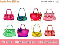 50% OFF Sale Handbag Clipart, Purse Clipart, Clip art, Designer Bags, Fashion, Scrapbooking, Party Invitations, Graphics, PNG JPEG, Download - By I365art