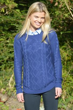 """Happy Kinda Life - If there's anything we're sure of, it's the Sara sweater. With gorgeous cable details, and a shaped hem, we know this is going to become a staple in your wardrobe. Keep a close eye on it though; your friends may want to """"borrow"""" it."""