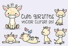 Premium-Vector Clipart - Kawaii Giraffen - niedlichen Giraffen-Clipart-Set - hochwertiges Vektoren - sofortige Download - Kawaii Clipart