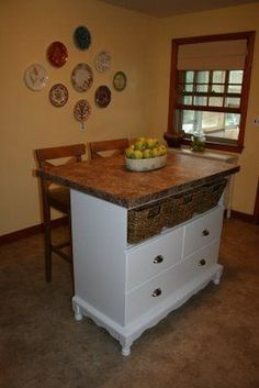 Ideas Diy Table Upcycle Kitchen Islands For 2019 Dresser Kitchen Island, Diy Kitchen Island, Kitchen Island Lighting, Kitchen Redo, New Kitchen, Kitchen Remodel, Awesome Kitchen, Design Kitchen, Kitchen Storage