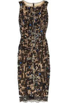Oscar de la Renta|Embellished tulle-overlay silk dress|NET-A-PORTER.COM