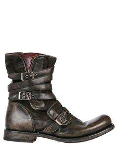 Triple Buckle Cordovan Leather Boots