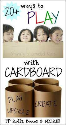 Cardboard crafts and activities for kids- make a cardboard rocket, craft with TP rolls, make games from egg cartons, and so much more!  { Play, create, upcycle! }