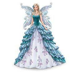 Limited-edition Nene Thomas winged maiden figurine in teal hues supports ovarian health. Glitter and faux gems. Portion of proceeds donated. Ovarian Cancer Awareness, Ovarian Tumor, Fairy Figurines, Thomas Kinkade, Angel Art, Fairy Art, Fashion Art, Fashion Design, Fashion Sketches