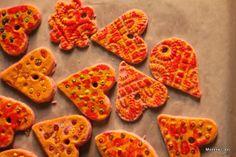 Beaded salt dough heart ornaments