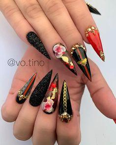 Cute Acrylic Nails, Acrylic Nail Designs, Nail Art Designs, Bee Nails, Polygel Nails, Stiletto Nails, Creative Nail Designs, Creative Nails, Louis Vuitton Nails