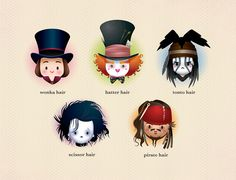 jerrodmaruyama: Johnny D on Flickr. Kawaii Johnny Depp characters By Jerrod Maruyama for The Bad Hair Show at Planet-Pulp.