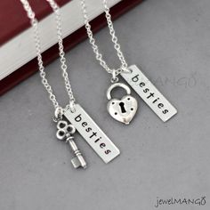 best friend necklace in silver friendship necklace by JewelMango