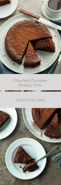 FLOURLESS CHOCOLATE WALNUT TORTE (GLUTEN-FREE, PALEO) An easy gluten-free and paleo flourless chocolate walnut cake made entirely in the food processor!