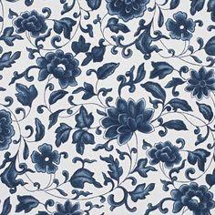 Imari - Porcelain Blue - Florals - Fabric - Products - Ralph Lauren Home - RalphLaurenHome.com